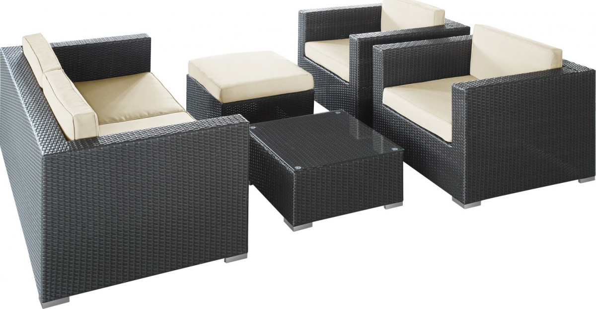 Malibu Collection 5-piece Wicker Outdoor Sectional Sofa Set