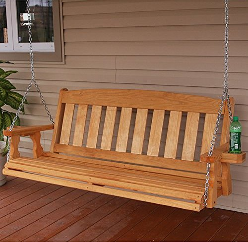 Amish Mission Style 5ft Outdoor Wooden Porch Swing Set W
