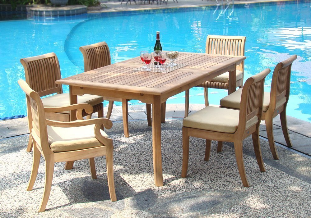 WholesaleTeak 7 Piece Grade-A Teak Dining Set with 94 Inch Double Extension Table