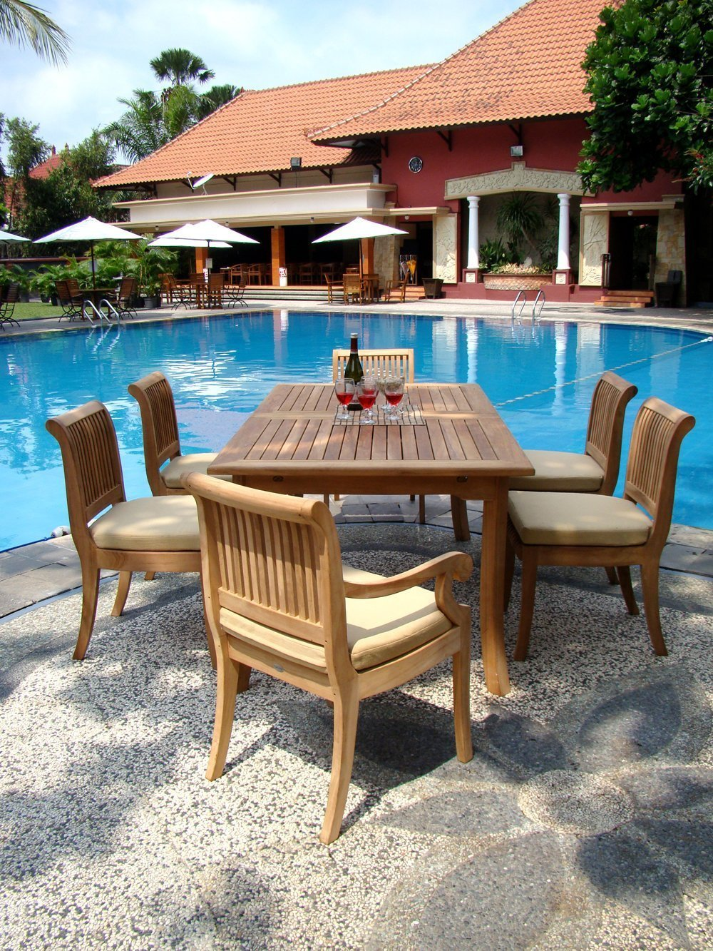 WholesaleTeak 7 Piece Grade A Teak Dining Set With 94 Inch Double Extension  Table