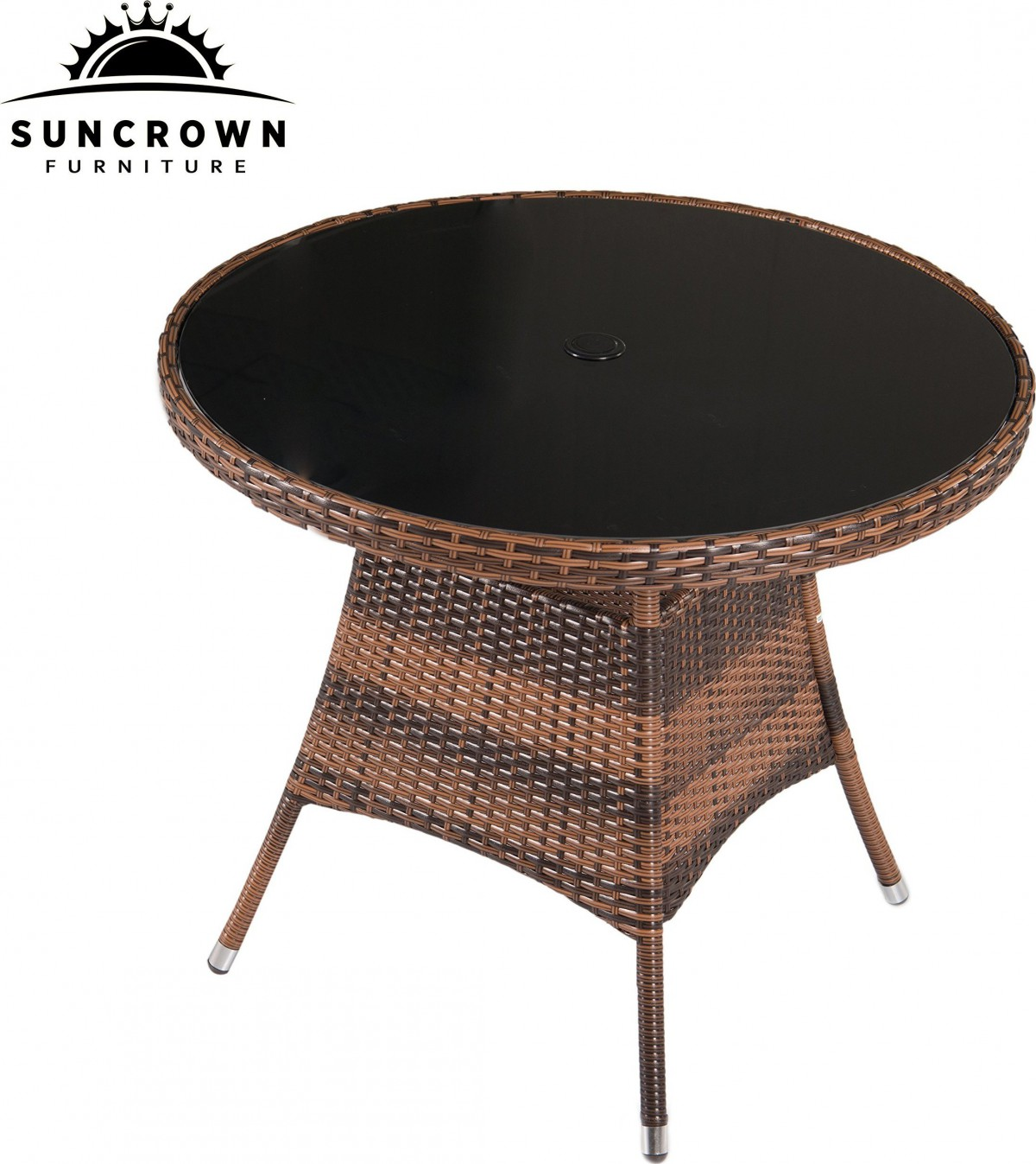 Suncrown 5 Piece Wicker Outdoor Dining Set with 35″ Round Table