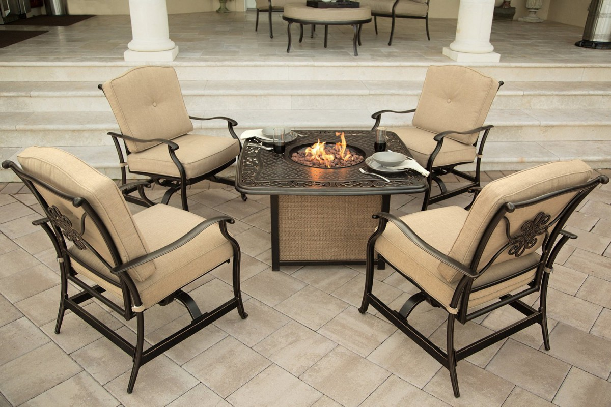 Hanover Traditions 5 Piece Outdoor Fire Pit Table Set