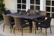 Del Mar Wicker 7 Piece Outdoor Dining Set with Stackable Wicker Chairs