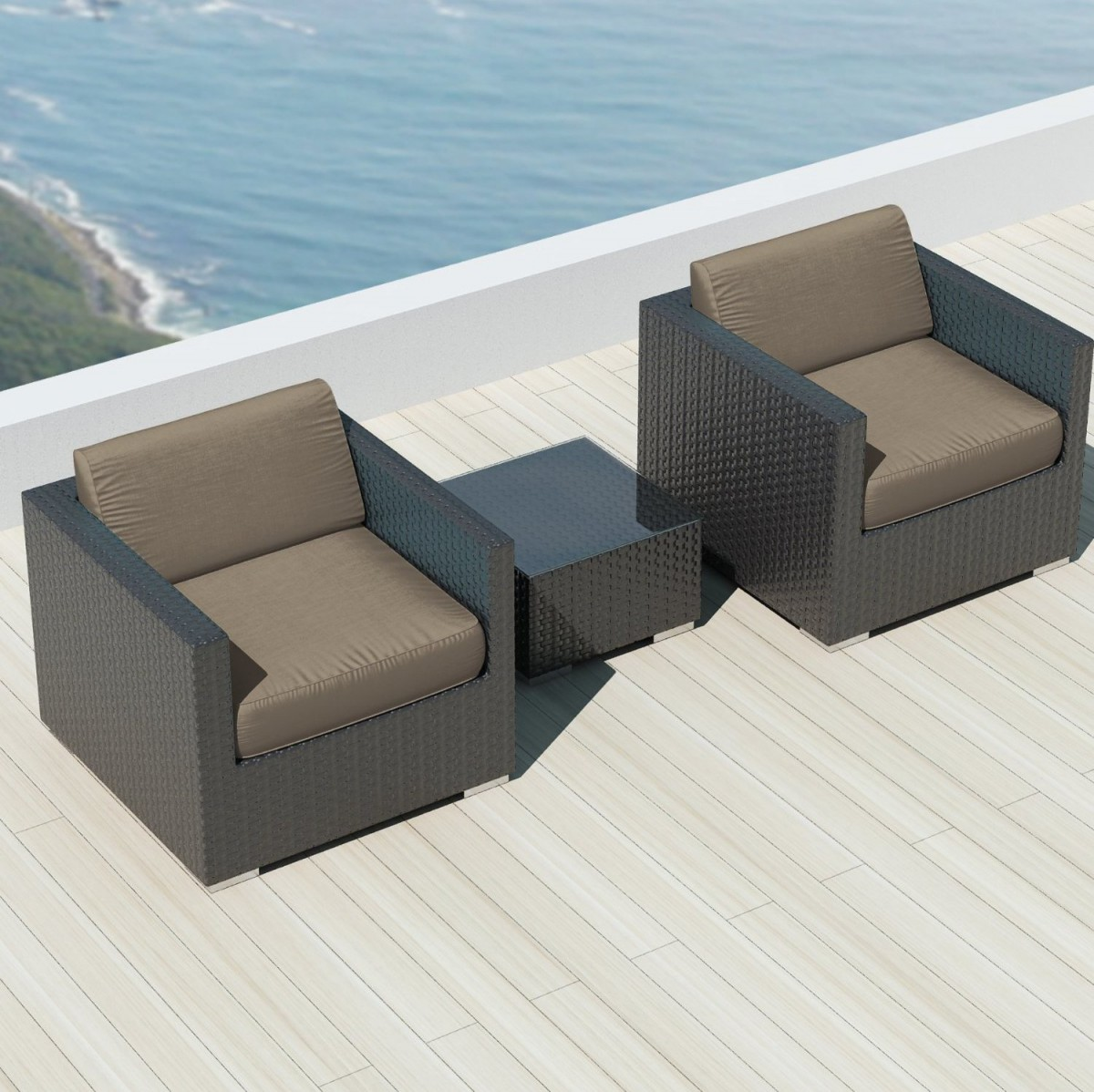 Luxxella bistro 3pc sunbrella outdoor sectional sofa set for Outdoor sofa