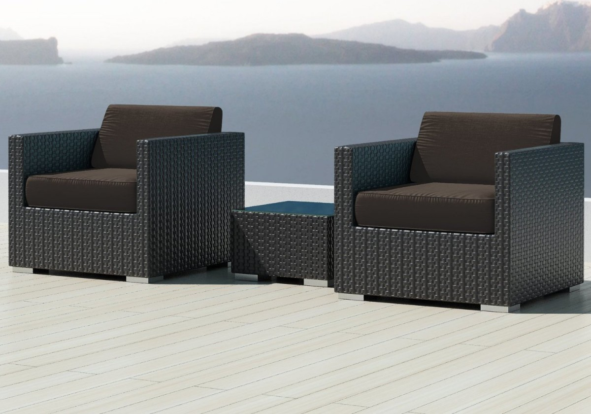 Luxxella Bistro 3pc Sunbrella Outdoor Sectional Sofa Set
