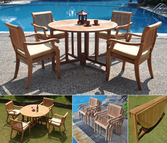 WholesaleTeak 5 Piece Teak Dining Set with 48 Inch Folding Patio Table + Stacking Chairs