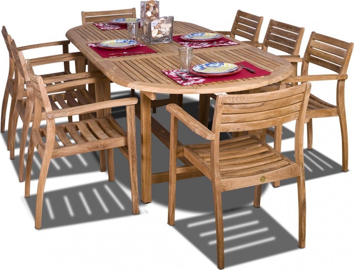 Amazonia teak coventry 9 piece oval teak outdoor dining for Stackable outdoor dining chairs