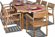 Amazonia Teak Coventry 9 Piece Oval Teak Outdoor Dining Set with Stackable Chairs