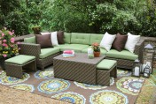 AE Outdoor Hampton 8 Piece Sectional Sofa Set with Sunbrella Fabric