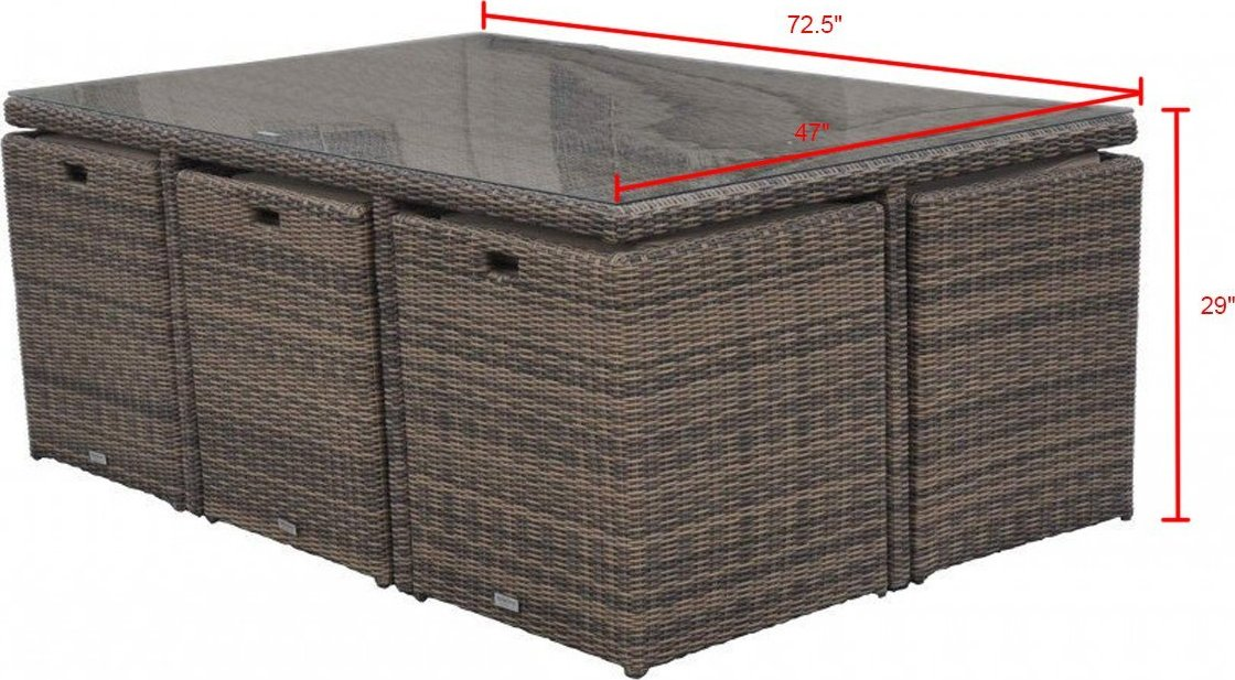 Radeway 11 Piece Rattan Cube Outdoor Patio Dining Set