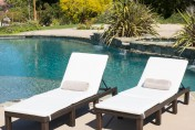 Estrella 2pc Wicker Outdoor Chaise Lounge Chairs w/ Cushions
