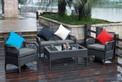 Trinidad 4-piece Resin Wicker and Aluminum Patio Set