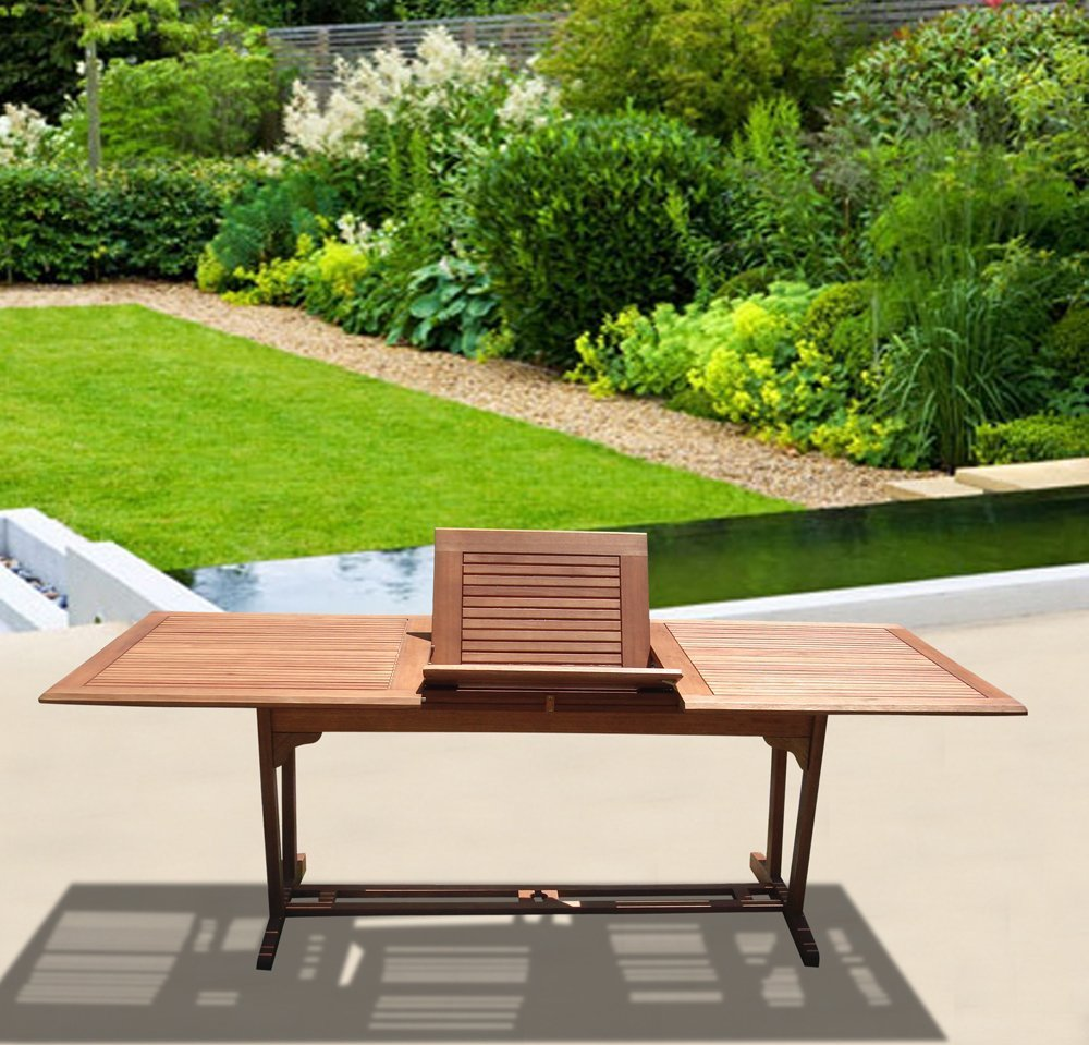 VIFAH V232 Outdoor Wood Rectangular Extension Table with Foldable Butterfly