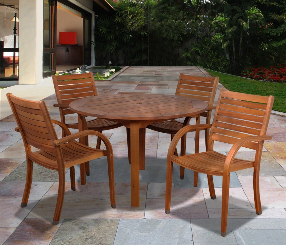 Amazonia arizona 5 piece wood outdoor dining set with 47 for Round dining table set
