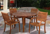 Amazonia Arizona 5 Piece Wood Outdoor Dining Set with 47″ Round Table and 4 Stackable Chairs
