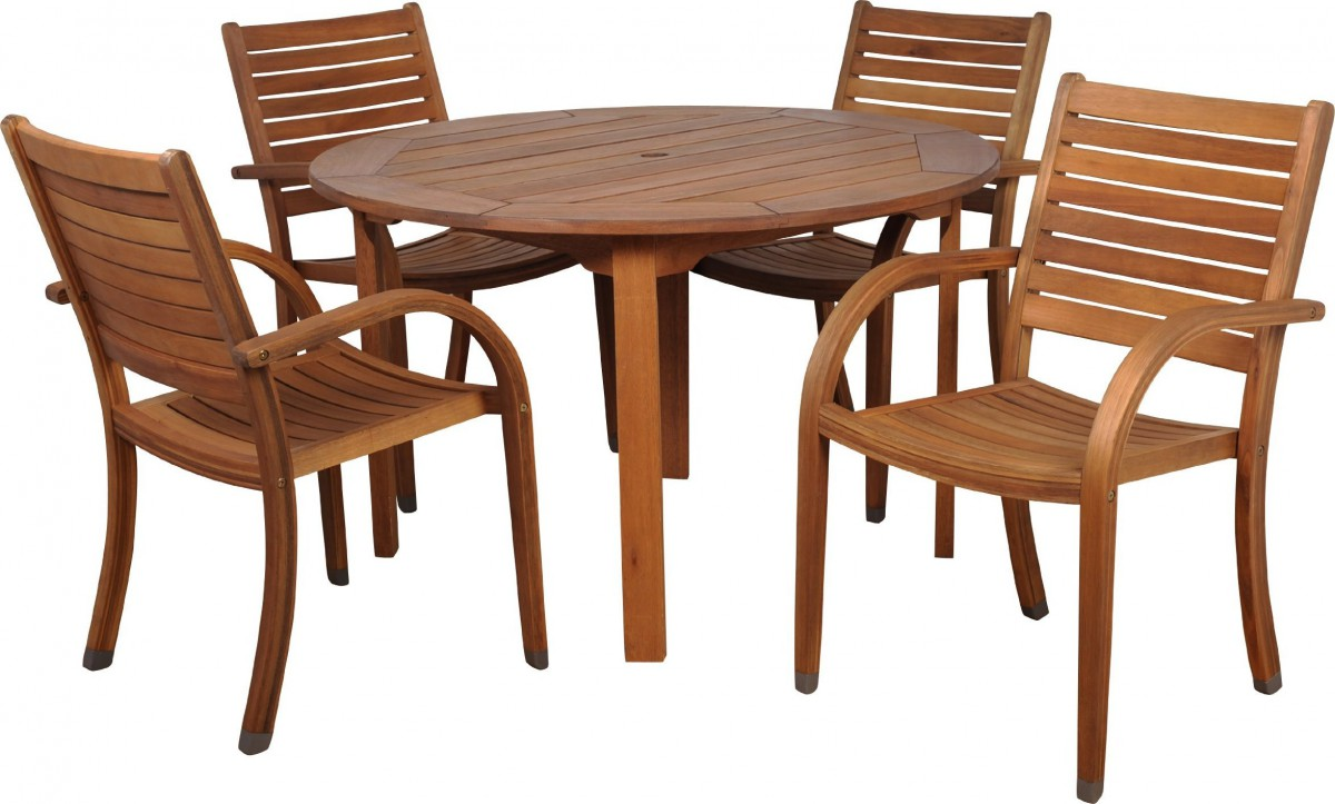 Amazonia Arizona 5 Piece Wood Outdoor Dining Set With 47