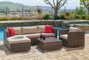 Suncrown 6 Piece Wicker Outdoor Sectional Sofa Set with Waterproof Cover