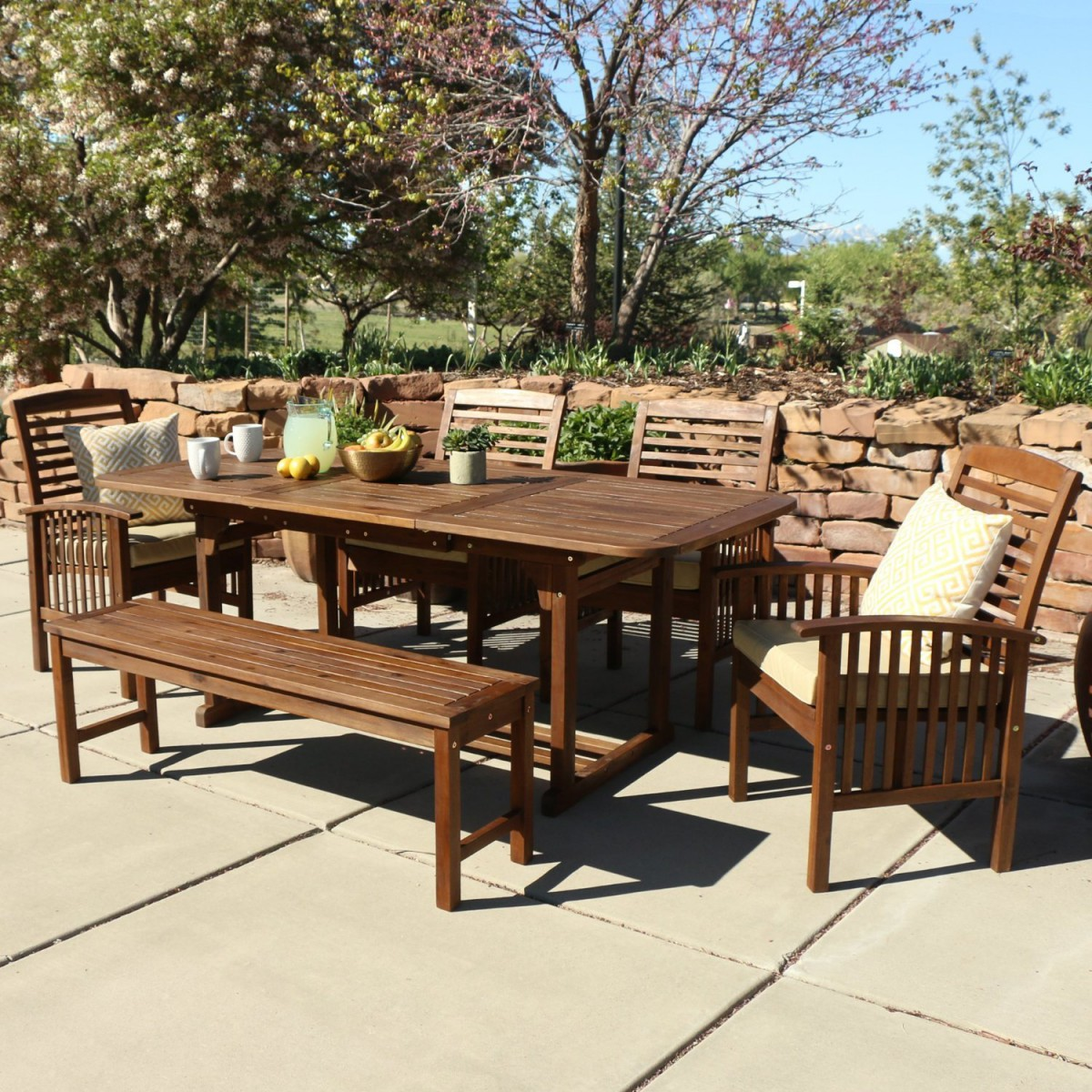 Walker Edison 6Piece Acacia Wood Patio Dining Set with Cushions