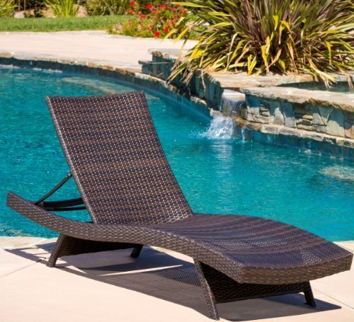 lakeport folding wicker outdoor chaise lounge chair