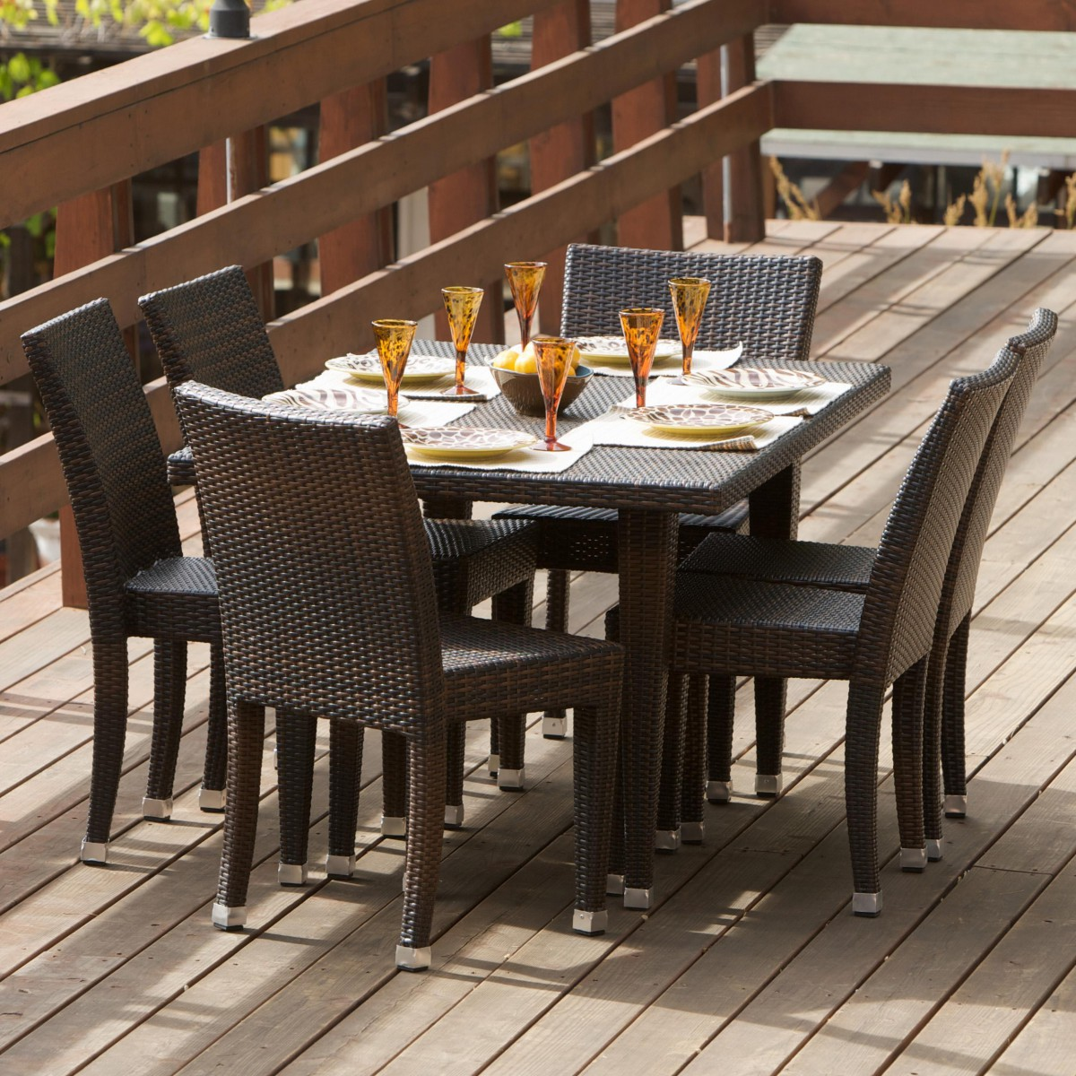 All weather wicker 7 piece outdoor patio dining set for Deck furniture