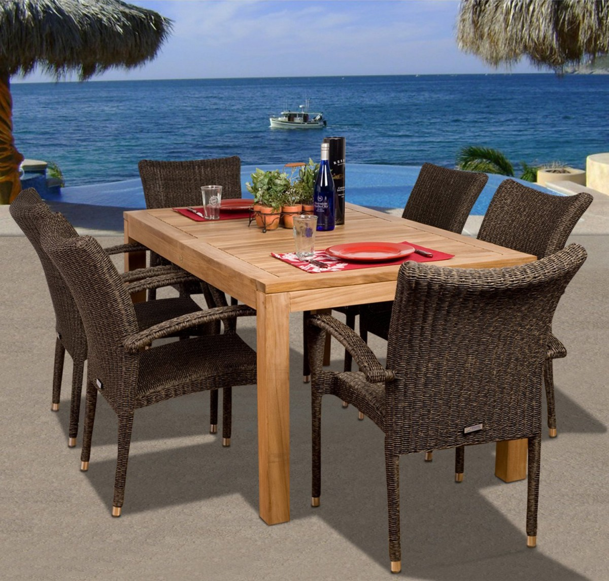Amazonia Teak Brussels 7 Piece Teak Outdoor Dining Set With Stackable  Wicker Chairs