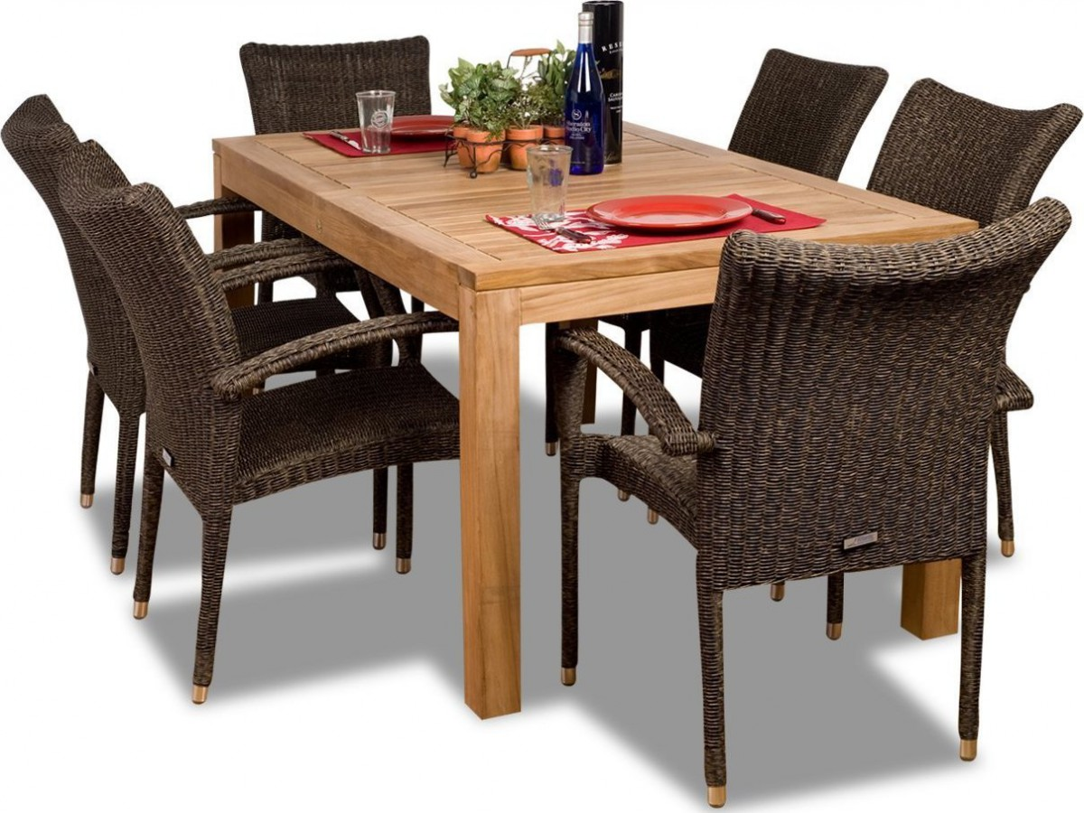Amazonia Teak Brussels 7 Piece Teak Outdoor Dining Set with ...