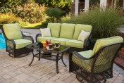 Hanover Orleans 4 Piece Outdoor Conversation Set with Swivel Glider Chairs