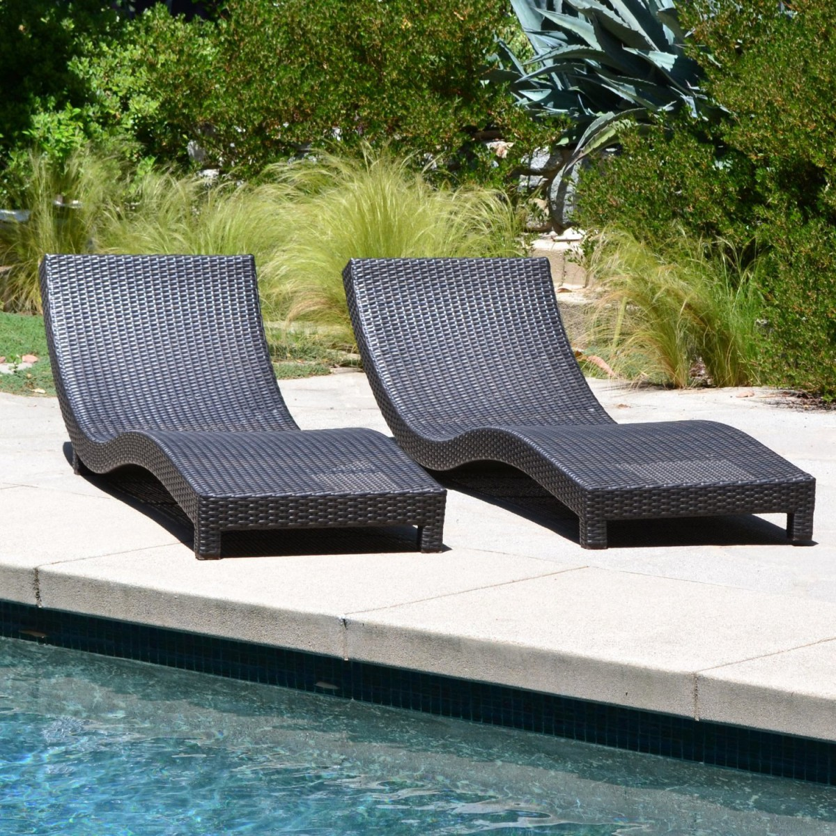 Coast Modern Living Outdoor Chaise Lounge Chairs W/ Cushions