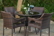 Del Mar Wicker 5 Piece Outdoor Dining Set with 34″ Round Table and Stackable Chairs