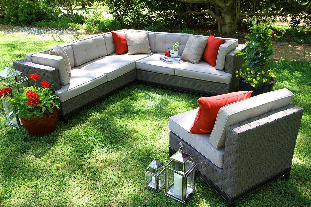 AE Outdoor Camilla 4 Piece Wicker Sectional Sofa Set with Sunbrella Fabric