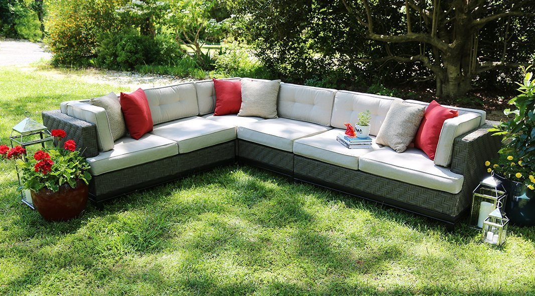 Ae Outdoor Camilla 4 Piece Wicker Sectional Sofa Set With Sunbrella Fabric
