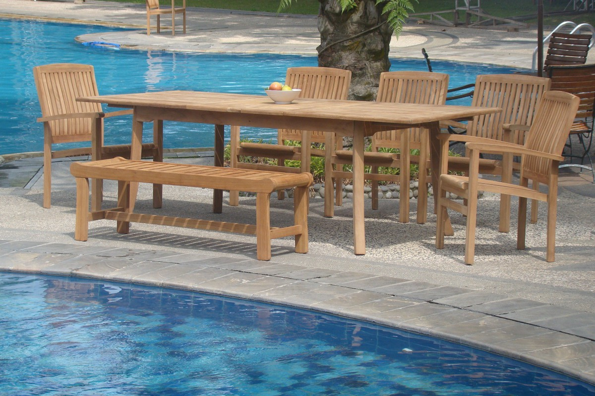 WholesaleTeak 7 Piece Grade A Teak Outdoor Dining Set With Bench And  Stackable Chairs