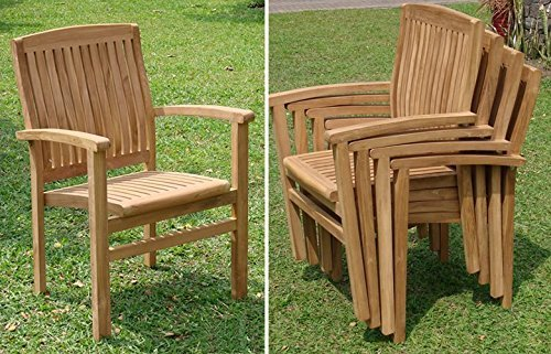 WholesaleTeak 7 Piece Grade-A Teak Outdoor Dining Set with Bench and Stackable Chairs