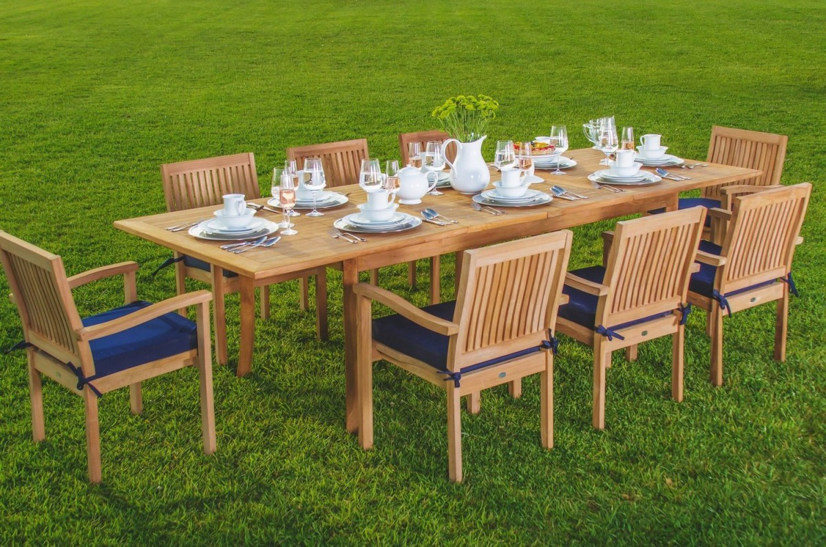 Wholesaleteak 9 piece grade a teak outdoor dining set with for Teak outdoor furniture