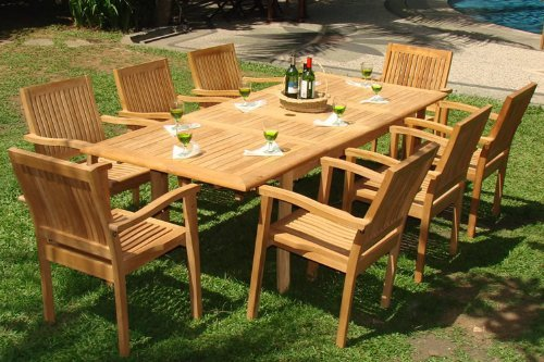 WholesaleTeak 9 Piece Grade-A Teak Outdoor Dining Set with 94″ Table and 8 Stackable Chairs