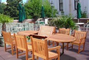 Vifah V144SET21 Wood 7-Piece Patio Dining Set with Oval Extension Table and Armchairs
