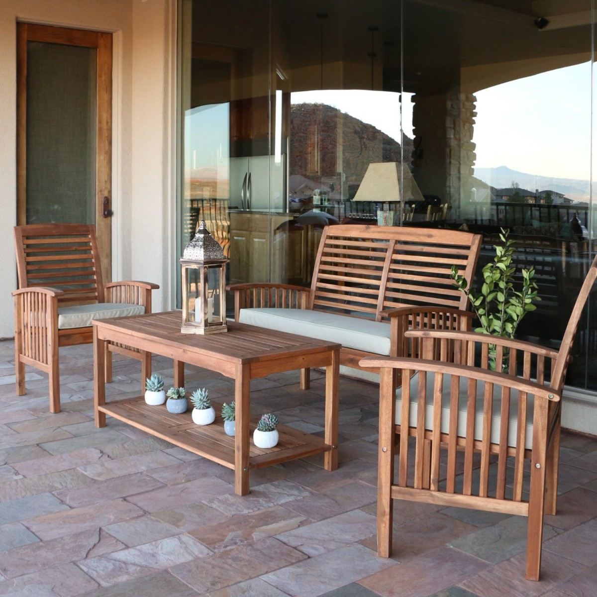 Walker Edison 4-Piece Acacia Wood Conversation Set with Cushions