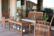 Walker Edison 4-Piece Acacia Wood Conversation Set with Cushions