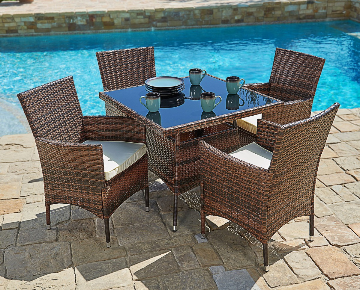 Wicker Dining Table Sets ~ Suncrown piece wicker outdoor dining set with quot square