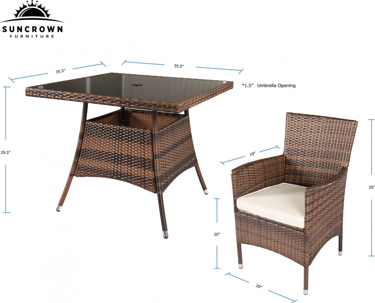 Suncrown 5 Piece Wicker Outdoor Dining Set with 35″ Square Table