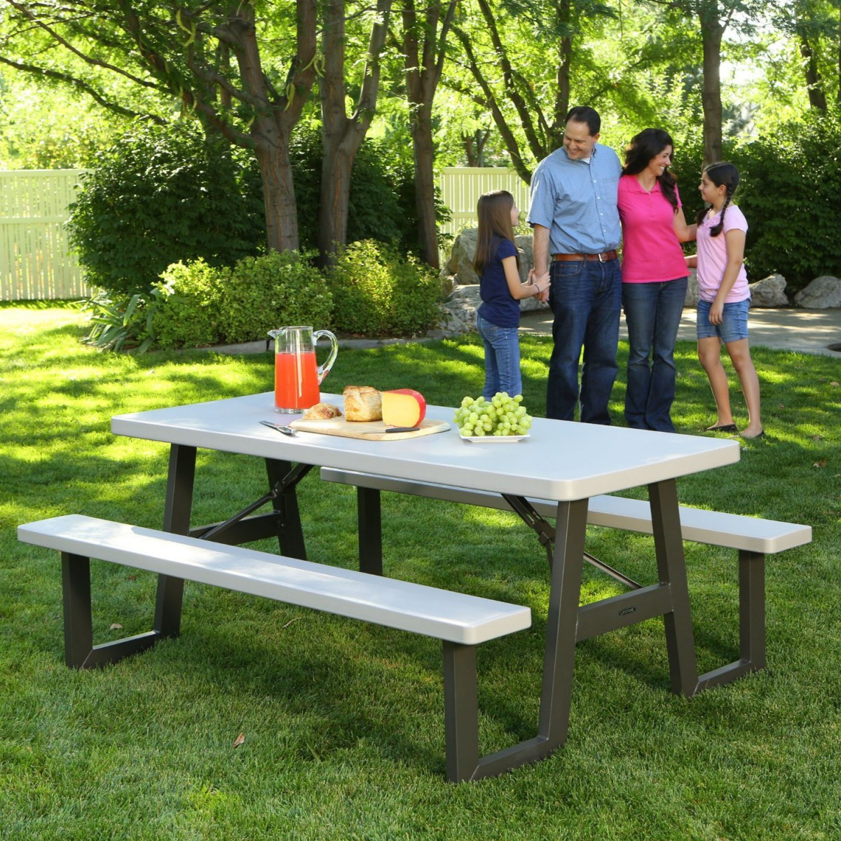 Lifetime 60030 W Frame 6 Foot Folding Picnic Table Bench