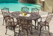 Gardena Cast Aluminum 7 Piece Outdoor Dining Set with Oval Table