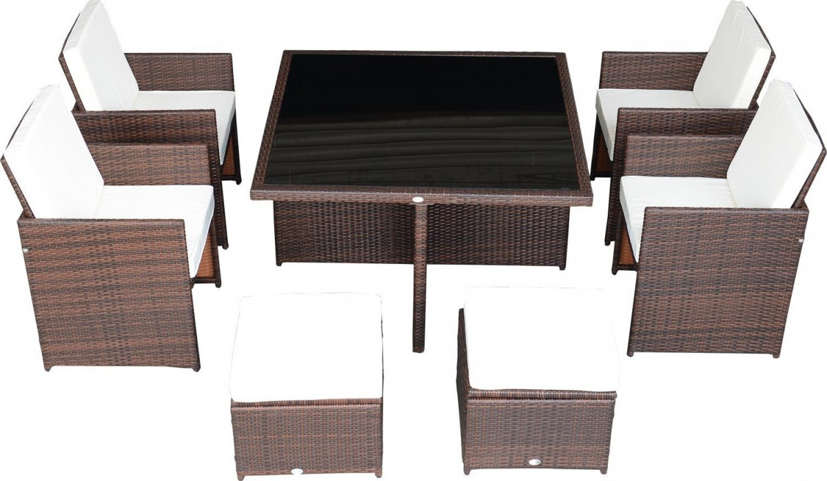 outsunny 9 piece outdoor dining set w stowaway table and chairs