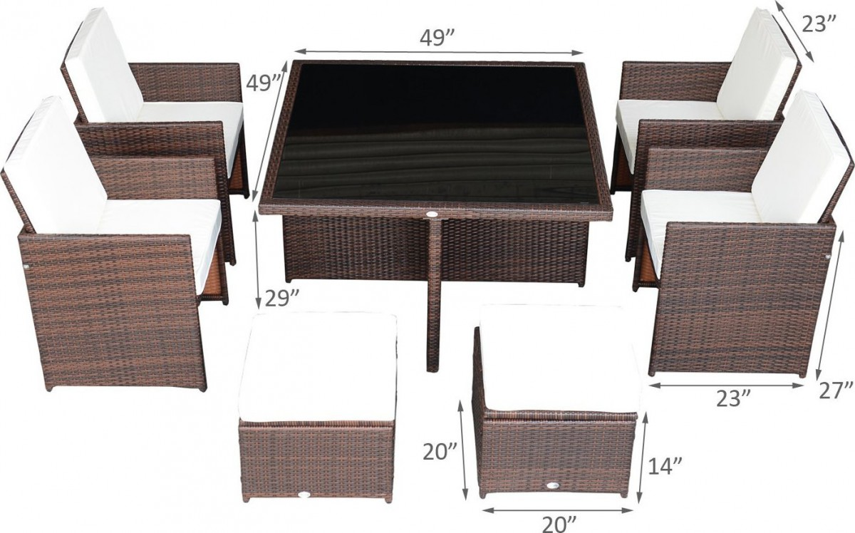Outsunny 9 Piece Outdoor Dining Set w/ Stowaway Table and Chairs