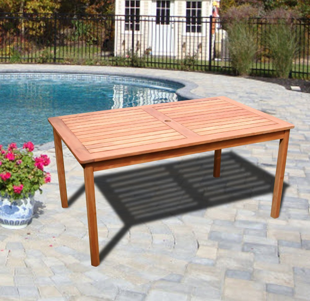 Vifah v outdoor wood rectangular table with natural