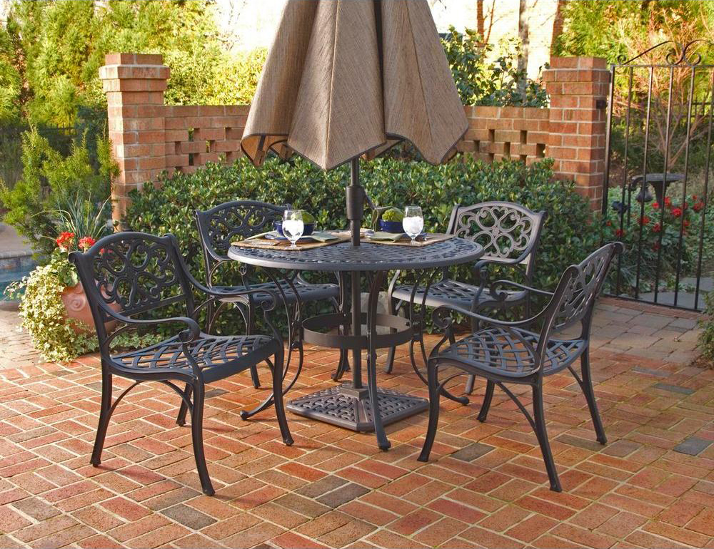 Home Styles Biscayne 5pc 48u2033 Outdoor Patio Dining Set W/ Black Finish
