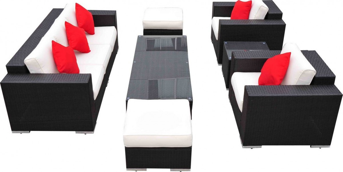 Outsunny 7 Piece Wicker Outdoor Sectional Sofa Set