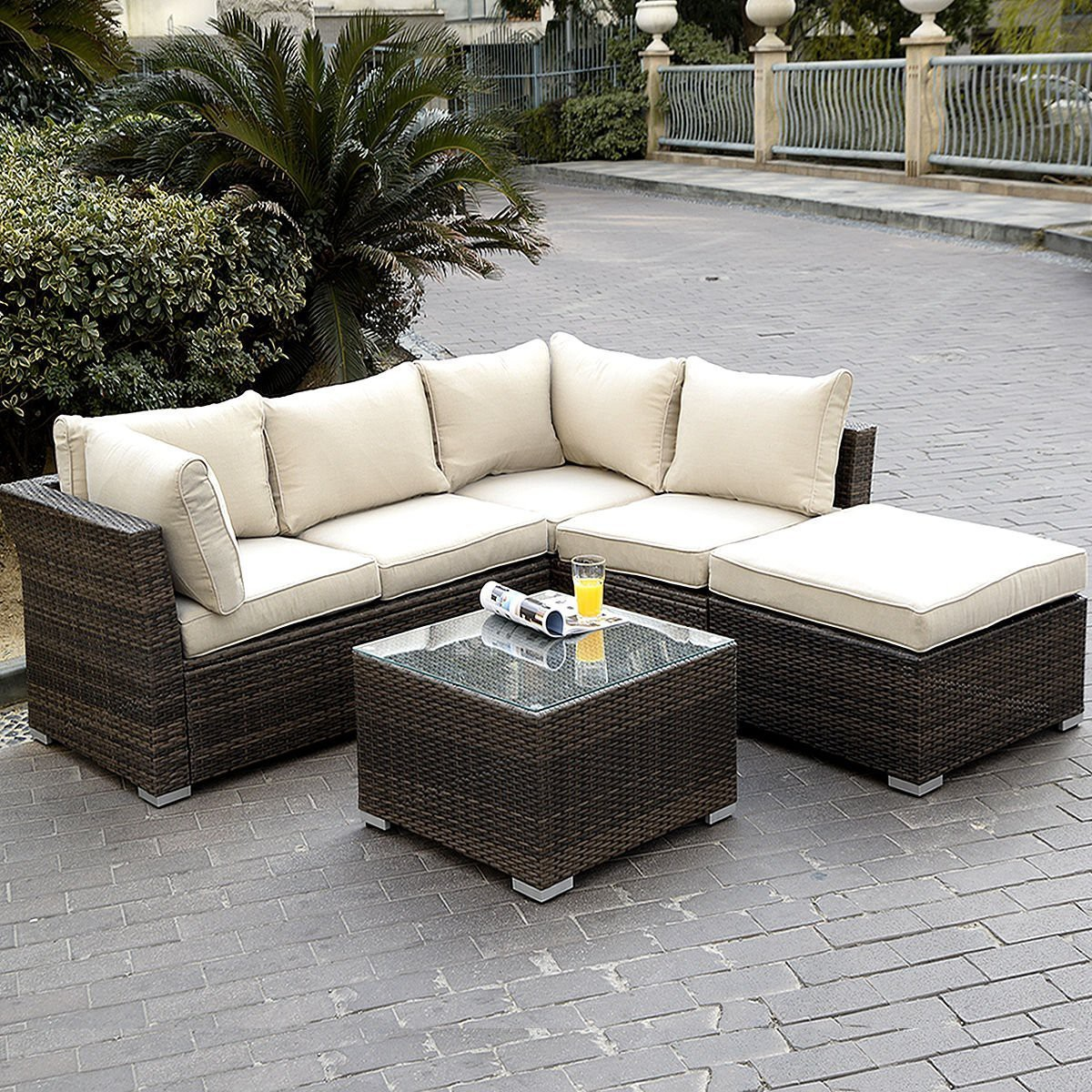 Giantex 4pc wicker rattan outdoor sectional sofa set for Outdoor patio couch set