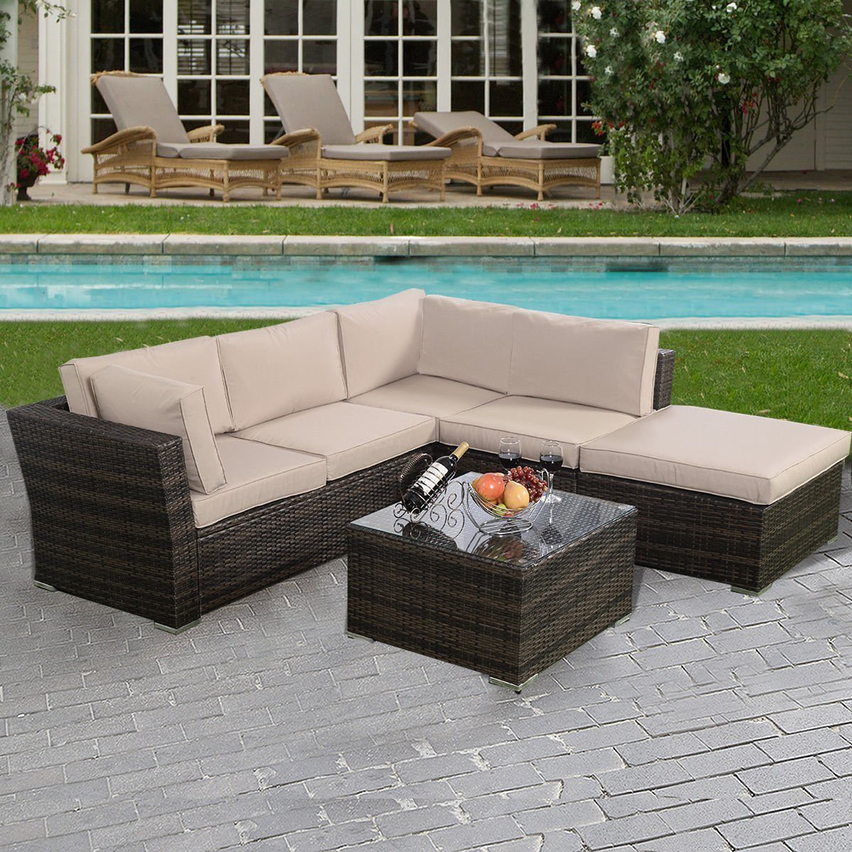 Giantex 4pc Wicker Rattan Outdoor Sectional Sofa Set