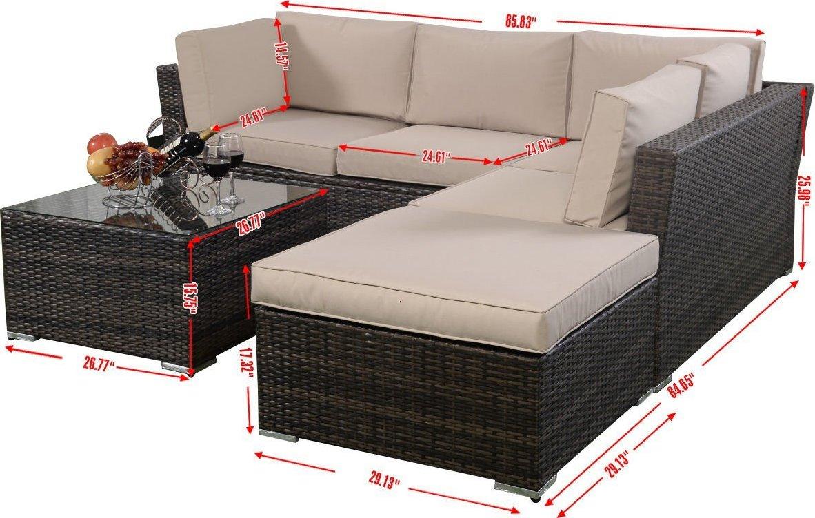 Giantex 4pc wicker rattan outdoor sectional sofa set for Sofa exterior esquina
